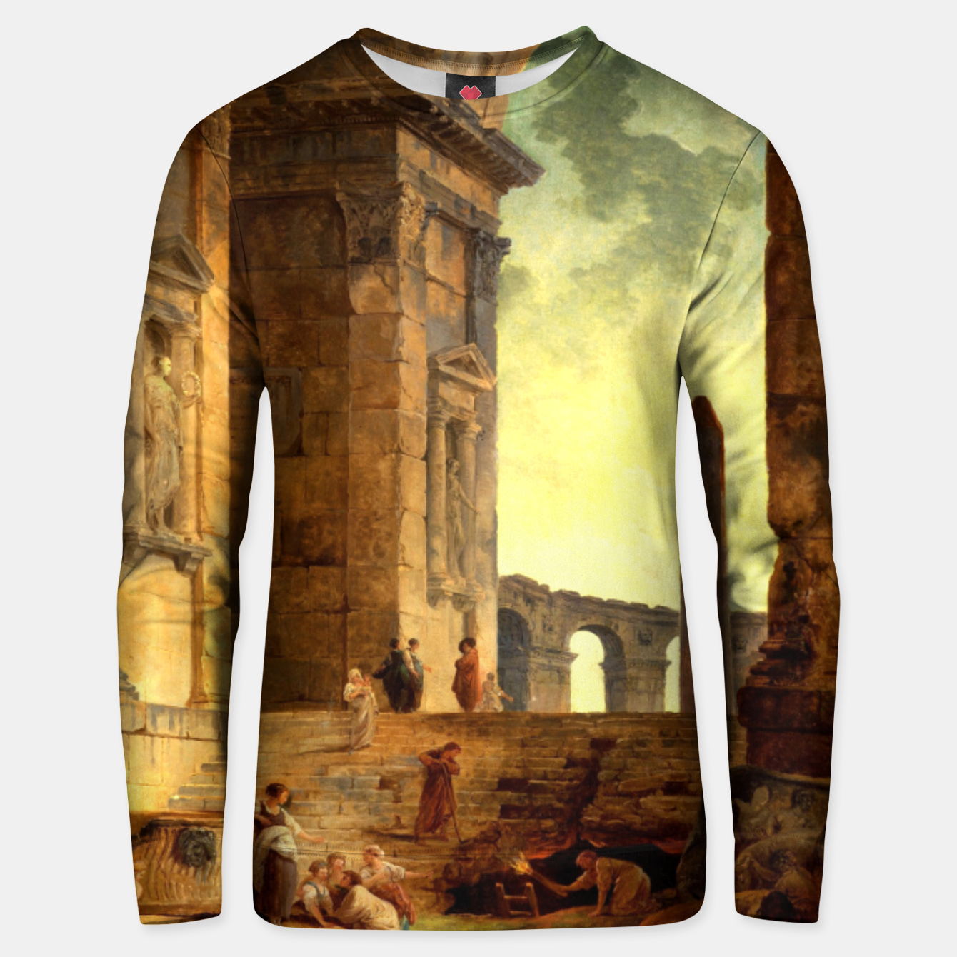 Image of Ruins With An Obelisk In The Distance by Hubert Robert Unisex sweater - Live Heroes