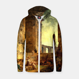 Ruins With An Obelisk In The Distance by Hubert Robert Zip up hoodie thumbnail image