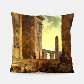 Ruins With An Obelisk In The Distance by Hubert Robert Pillow thumbnail image