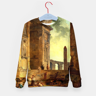 Ruins With An Obelisk In The Distance by Hubert Robert Kid's sweater thumbnail image