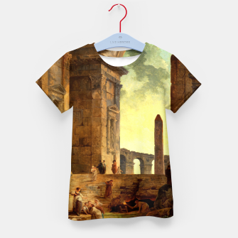 Ruins With An Obelisk In The Distance by Hubert Robert Kid's t-shirt thumbnail image