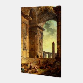 Ruins With An Obelisk In The Distance by Hubert Robert Canvas thumbnail image