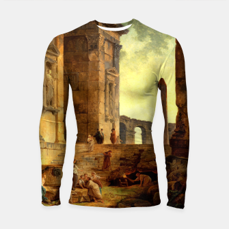 Ruins With An Obelisk In The Distance by Hubert Robert Longsleeve rashguard  thumbnail image