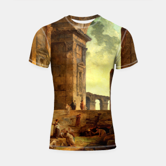 Ruins With An Obelisk In The Distance by Hubert Robert Shortsleeve rashguard thumbnail image