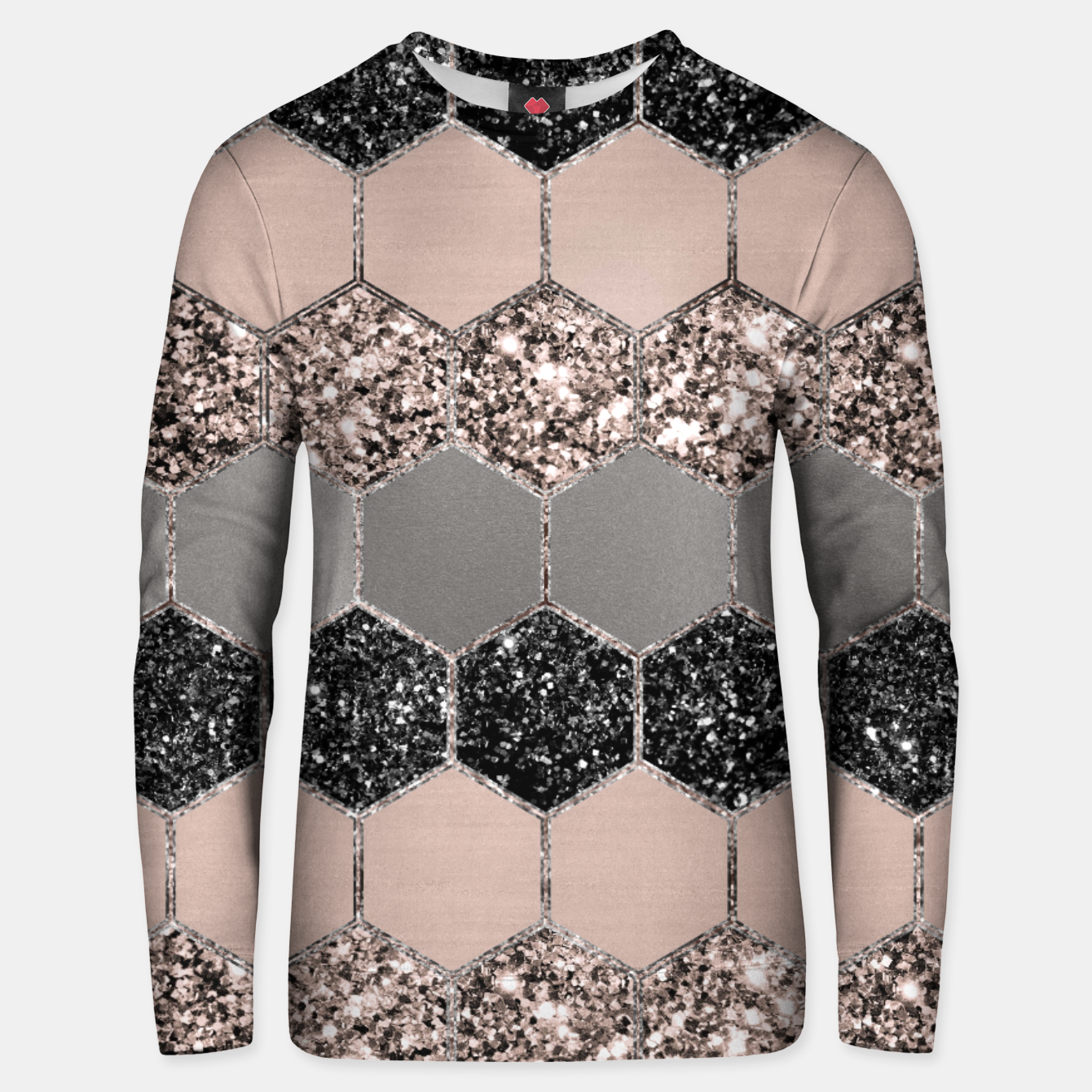 Image of Blush Hexagon Glitter Glam #3 #geometric #decor #art  Unisex sweatshirt - Live Heroes