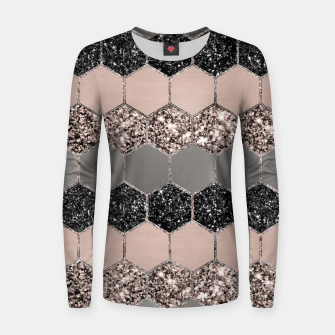 Blush Hexagon Glitter Glam #3 #geometric #decor #art  Frauen sweatshirt thumbnail image