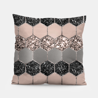 Blush Hexagon Glitter Glam #3 #geometric #decor #art  Kissen thumbnail image