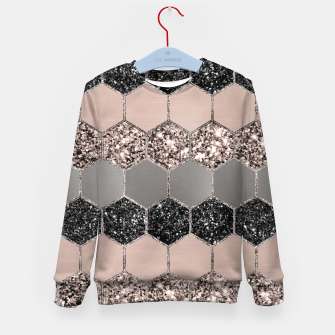 Blush Hexagon Glitter Glam #3 #geometric #decor #art  Kindersweatshirt thumbnail image