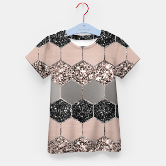 Blush Hexagon Glitter Glam #3 #geometric #decor #art  T-Shirt für kinder thumbnail image