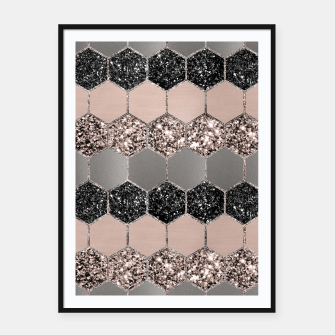 Blush Hexagon Glitter Glam #3 #geometric #decor #art  Plakat mit rahmen thumbnail image