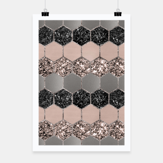 Blush Hexagon Glitter Glam #3 #geometric #decor #art  Plakat thumbnail image