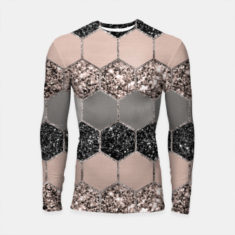 Blush Hexagon Glitter Glam #3 #geometric #decor #art  Longsleeve rashguard thumbnail image
