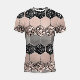 Blush Hexagon Glitter Glam #3 #geometric #decor #art  Shortsleeve rashguard thumbnail image