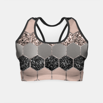 Blush Hexagon Glitter Glam #3 #geometric #decor #art  Crop Top thumbnail image