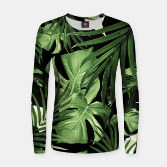 Tropical Jungle Night Leaves Pattern #5 #tropical #decor #art Frauen sweatshirt thumbnail image