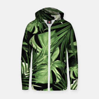 Tropical Jungle Night Leaves Pattern #5 #tropical #decor #art Reißverschluss kapuzenpullover thumbnail image