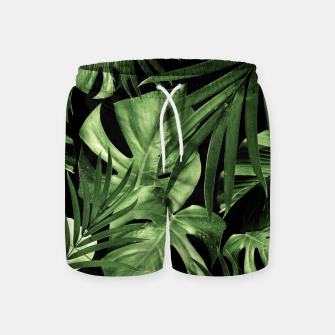 Tropical Jungle Night Leaves Pattern #5 #tropical #decor #art Badeshorts thumbnail image