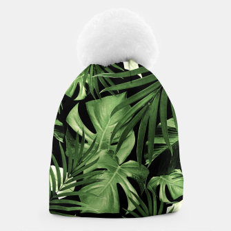 Tropical Jungle Night Leaves Pattern #5 #tropical #decor #art Mütze thumbnail image