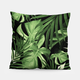 Tropical Jungle Night Leaves Pattern #5 #tropical #decor #art Kissen thumbnail image