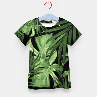 Tropical Jungle Night Leaves Pattern #5 #tropical #decor #art T-Shirt für kinder thumbnail image