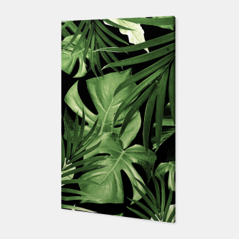 Tropical Jungle Night Leaves Pattern #5 #tropical #decor #art Canvas thumbnail image