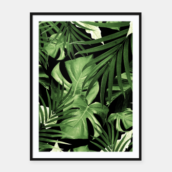 Tropical Jungle Night Leaves Pattern #5 #tropical #decor #art Plakat mit rahmen thumbnail image