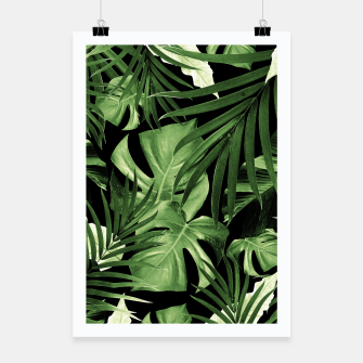 Tropical Jungle Night Leaves Pattern #5 #tropical #decor #art Plakat thumbnail image