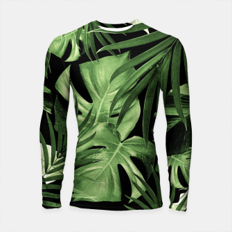 Tropical Jungle Night Leaves Pattern #5 #tropical #decor #art Longsleeve rashguard thumbnail image