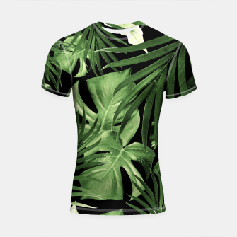 Tropical Jungle Night Leaves Pattern #5 #tropical #decor #art Shortsleeve rashguard thumbnail image