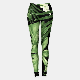 Tropical Jungle Night Leaves Pattern #5 #tropical #decor #art Leggings thumbnail image