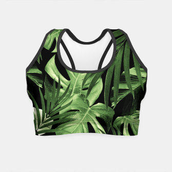 Tropical Jungle Night Leaves Pattern #5 #tropical #decor #art Crop Top thumbnail image