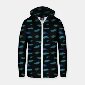 Thumbnail image of Feathers on Black Zip up hoodie, Live Heroes