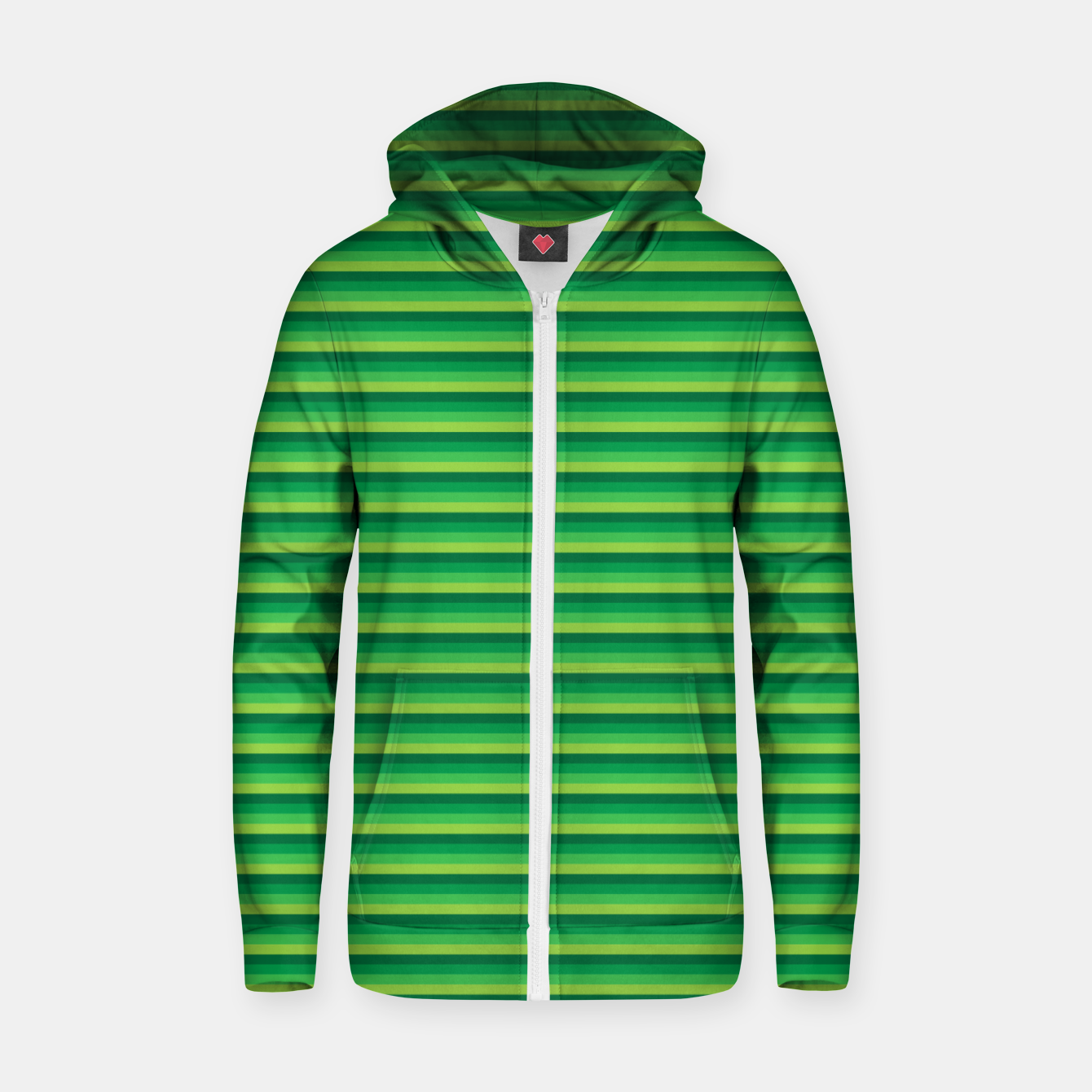 Image of Green Gradient Stripes pattern  Zip up hoodie - Live Heroes