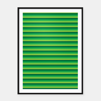 Green Gradient Stripes pattern  Framed poster thumbnail image