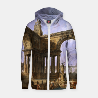 The Landing Place by Hubert Robert Zip up hoodie thumbnail image