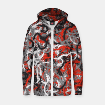 Centipedes red-gray camouflage Zip up hoodie thumbnail image