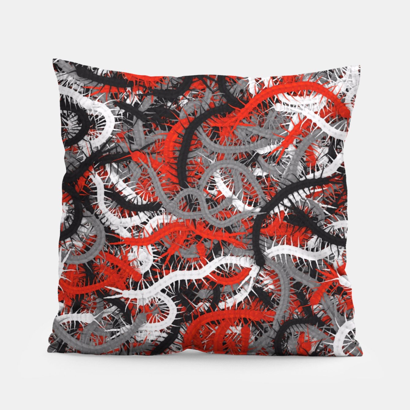 Image of Centipedes red-gray camouflage Pillow - Live Heroes