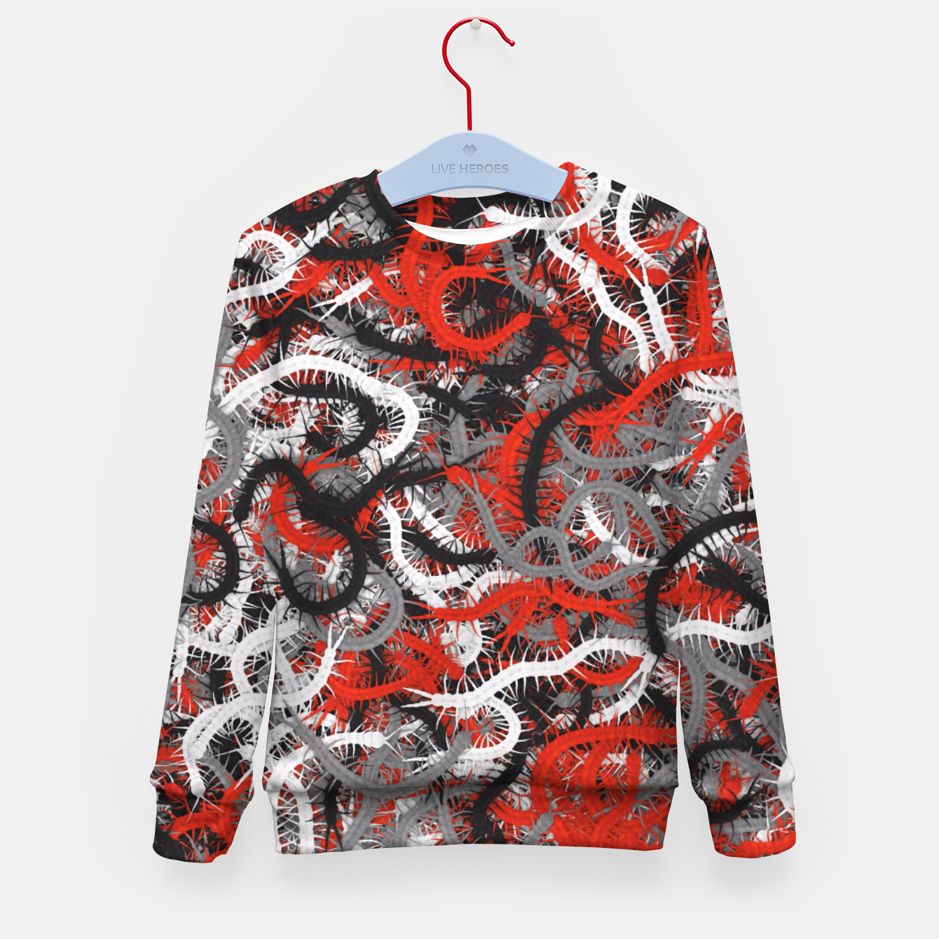 Image of Centipedes red-gray camouflage Kid's sweater - Live Heroes