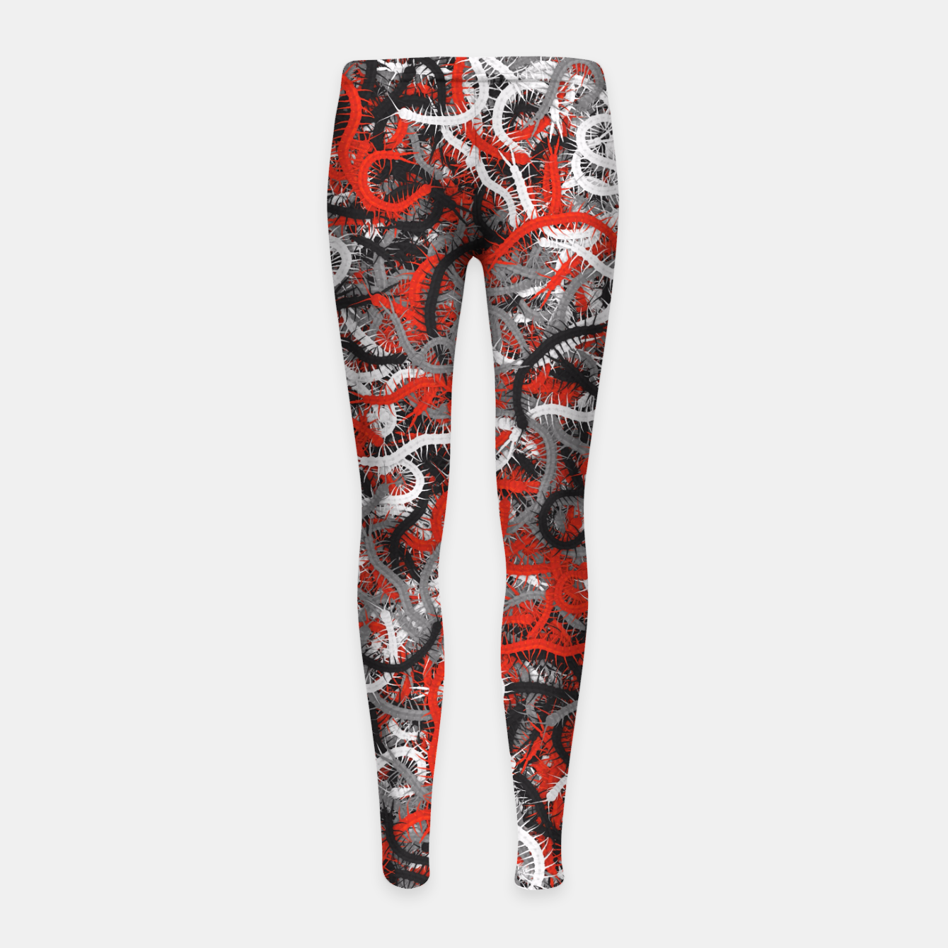 Image of Centipedes red-gray camouflage Girl's leggings - Live Heroes
