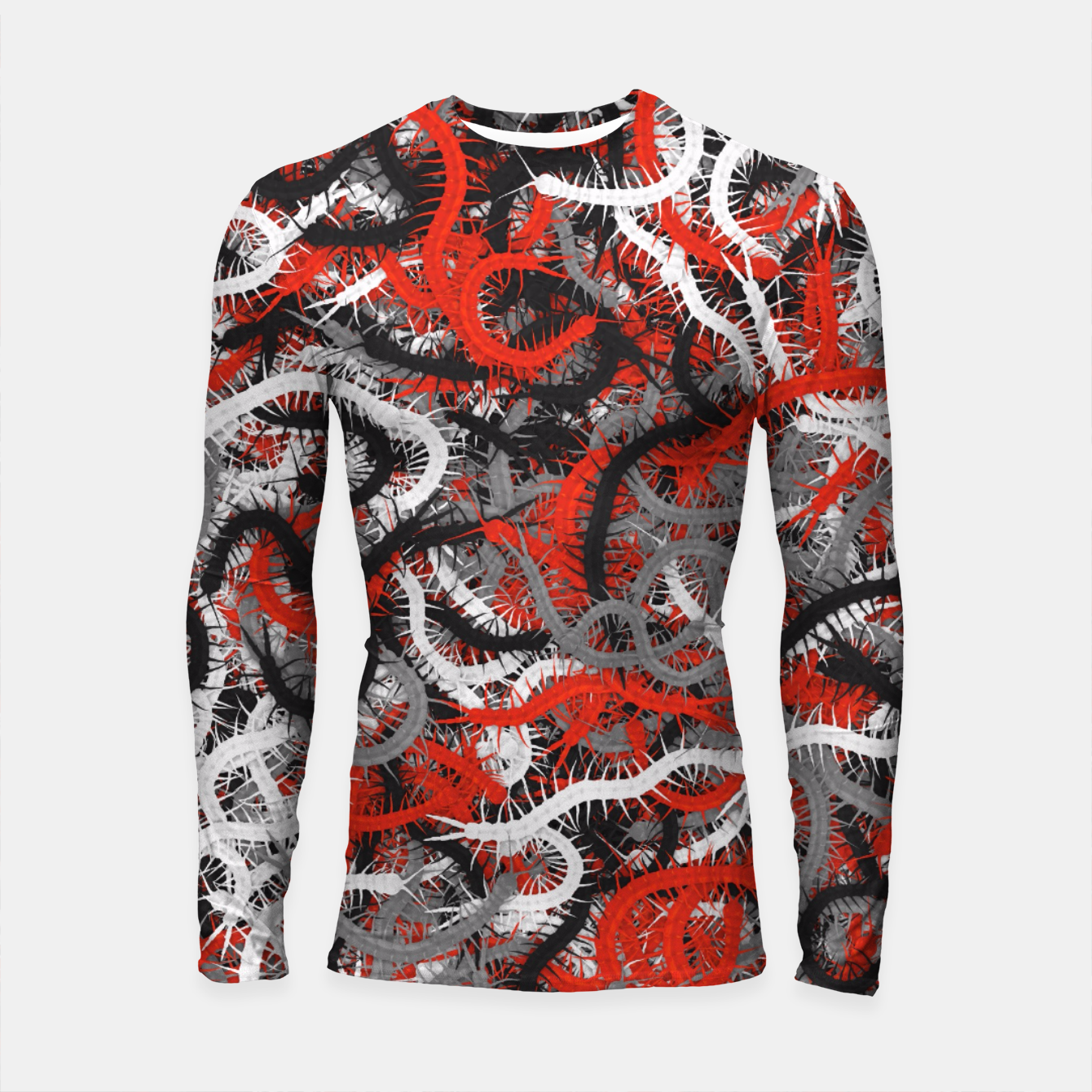 Image of Centipedes red-gray camouflage Longsleeve rashguard  - Live Heroes