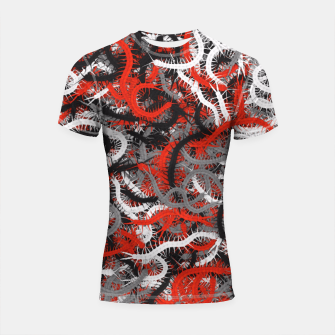 Thumbnail image of Centipedes red-gray camouflage Shortsleeve rashguard, Live Heroes
