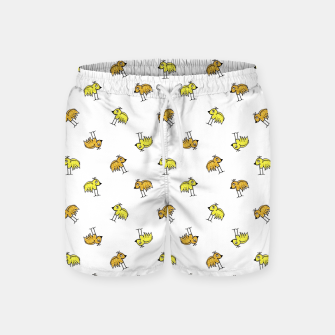 Birds Motif Drawing Print Pattern Swim Shorts obraz miniatury