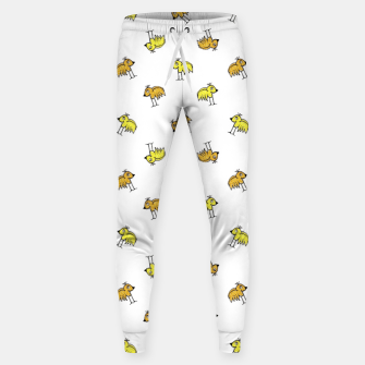 Birds Motif Drawing Print Pattern Sweatpants obraz miniatury