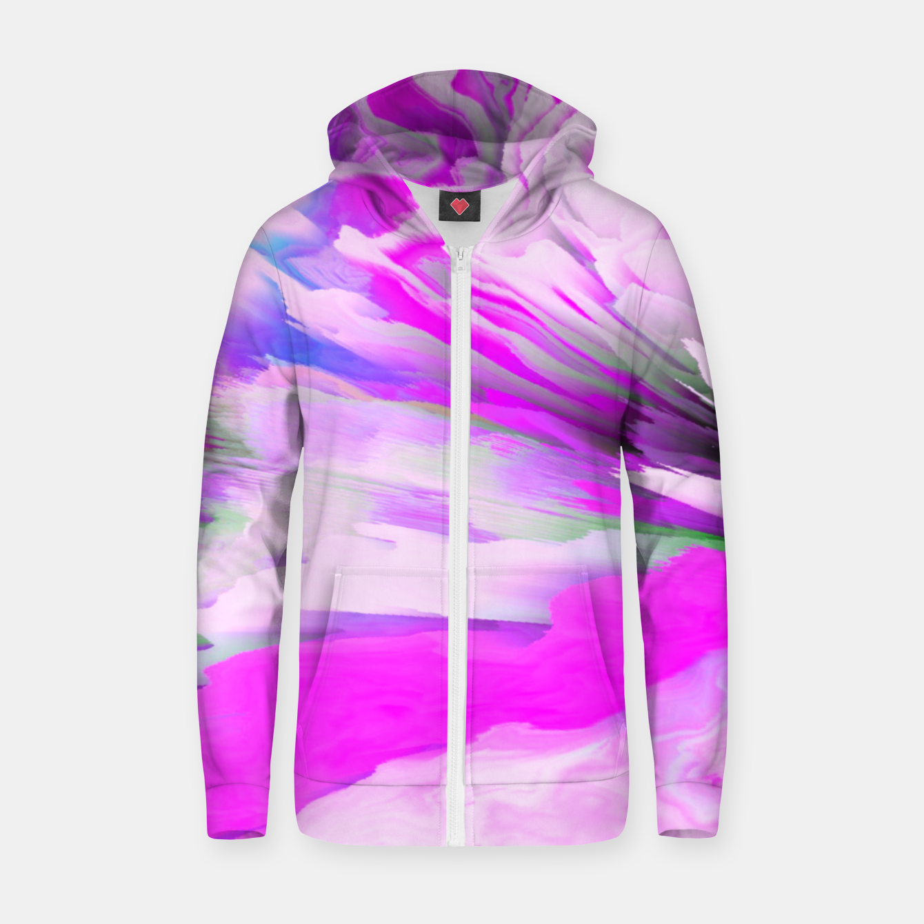 Image of Friendly Enemy Glitched Fluid Art Zip up hoodie - Live Heroes