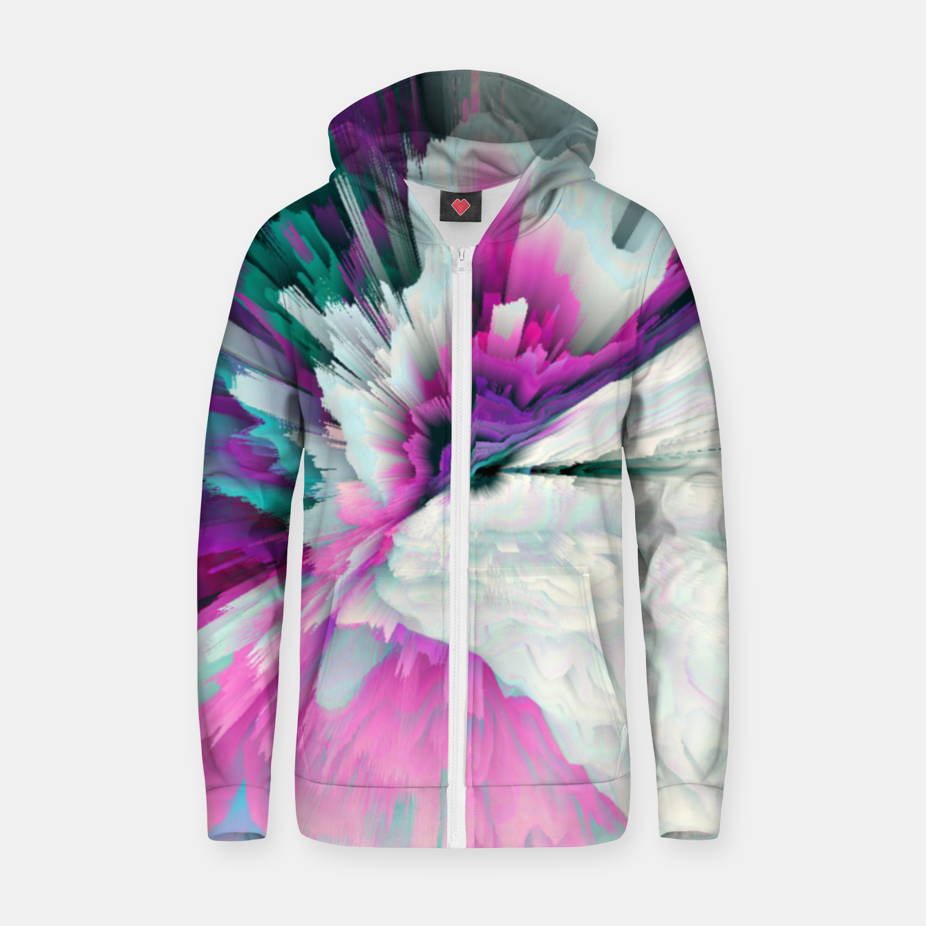 Image of Obvious Subtlety Glitched Fluid Art Zip up hoodie - Live Heroes