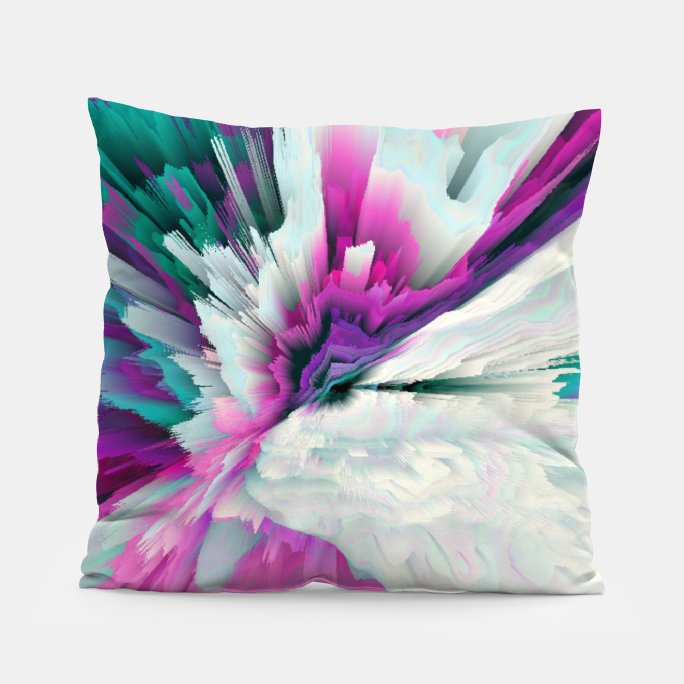 Image of Obvious Subtlety Glitched Fluid Art Pillow - Live Heroes