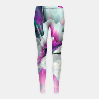 Thumbnail image of Obvious Subtlety Glitched Fluid Art Girl's leggings, Live Heroes