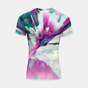 Thumbnail image of Obvious Subtlety Glitched Fluid Art Shortsleeve rashguard, Live Heroes
