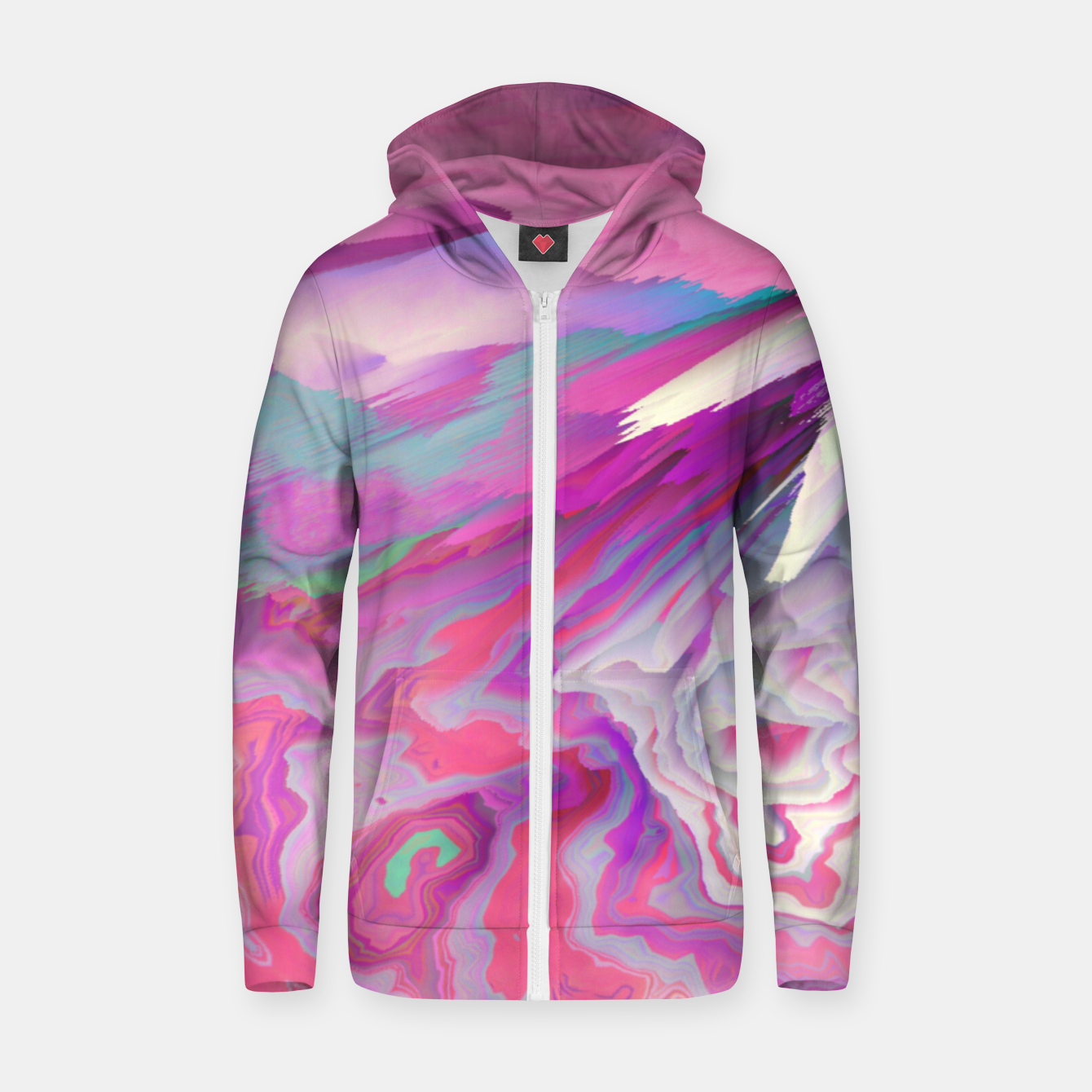 Image of Loud Silence Glitched Fluid Art Zip up hoodie - Live Heroes