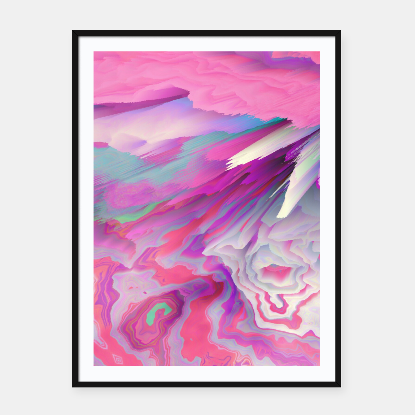 Image of Loud Silence Glitched Fluid Art Framed poster - Live Heroes
